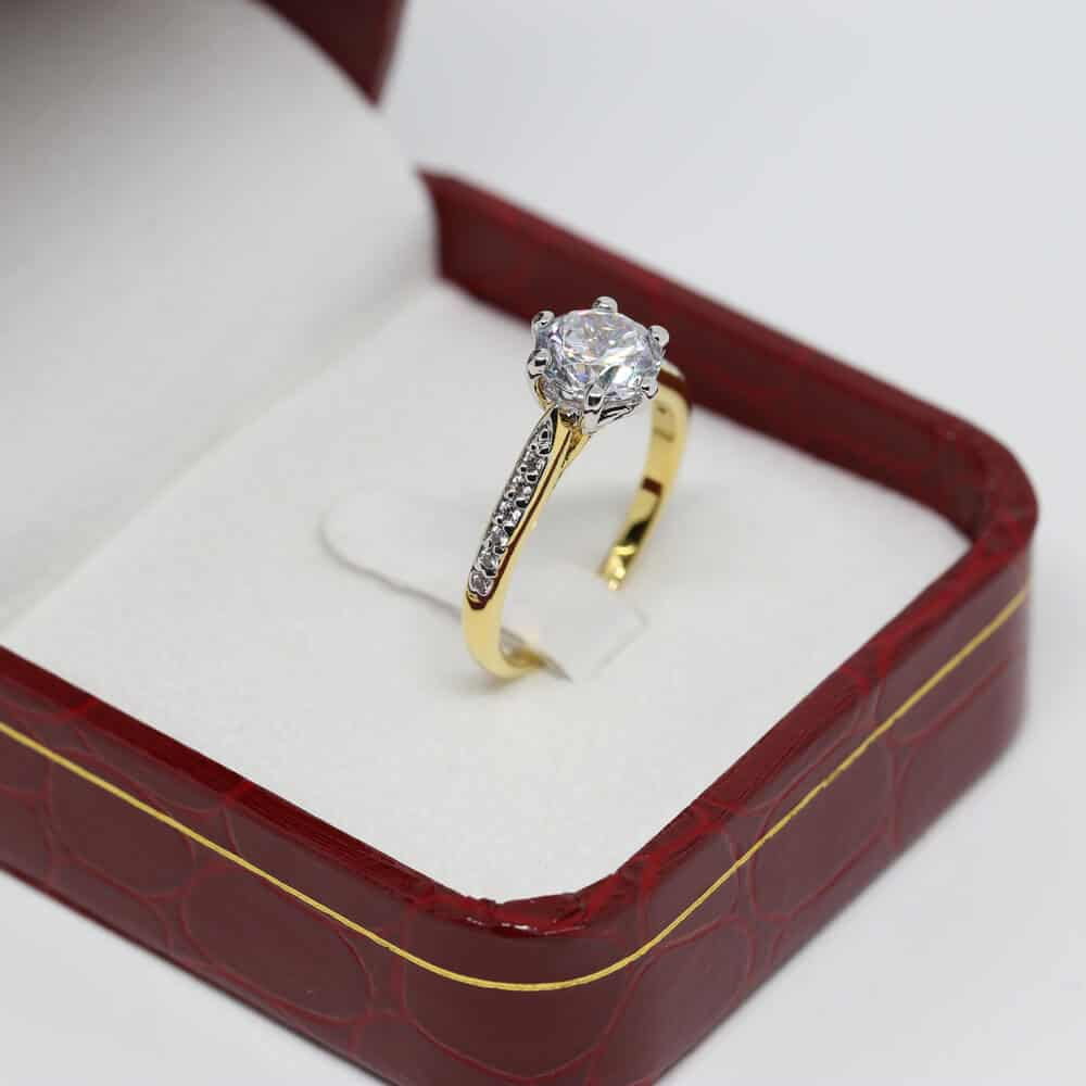 Round Cut Engagement Ring In A Box