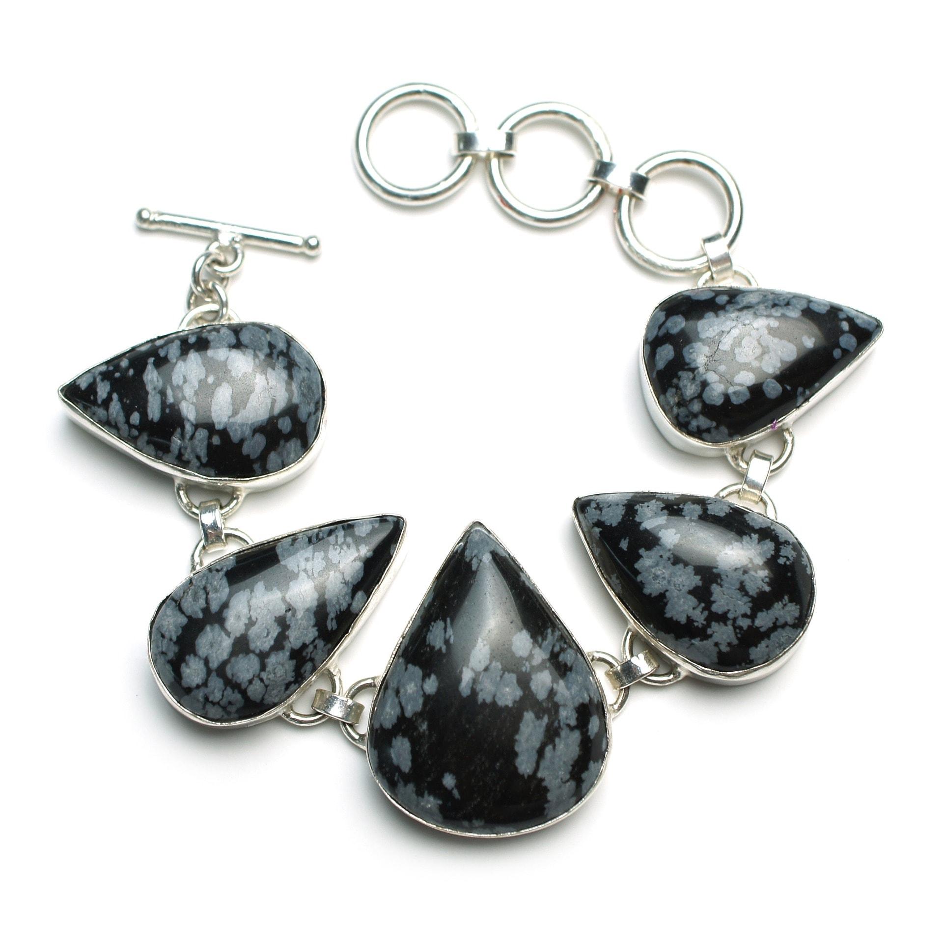 Tourmilated Quartz and ObsidianOnyx Gemstone Jewelry Set