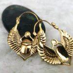 Серьги-кольца с египетским скарабеем