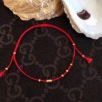 Ножной браслет удачи изящный красный шнур